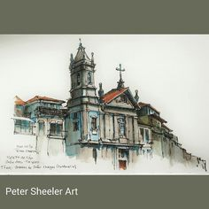 A beautiful day to sit in Jardim de Joao Chagas ( park ) and paint Igreja de Sao Jose das Taipas. Finished work. Painted on location in Porto Portugal . #town #urban #buildings #landscape #street #art #artist #original #watercolor #watercolour #painting #paintingaday #penandink #waterbrush #pleinaire #urbansketch #urbansketchers #urbansketcher #architecture #ink #Porto #portugal #chapel #church
