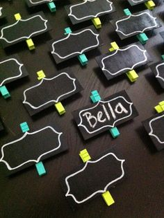 Chalkboard Label Clothespins by Create Share Inspire - great way to display artwork or label party foods!