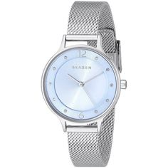 Skagen Women's Anita SKW2319 Stainless Steel Quartz Watch ($112) ❤ liked on Polyvore featuring jewelry, watches, blue, blue quartz jewelry, dial watches, blue dial watches, black face watches and quartz wrist watch