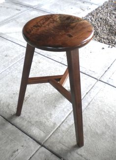 The Chinese stool in walnut.
