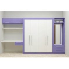 This wardrobe is absolutely spacious and well crafted to suit a modern home. A 4 door wardrobe with dresser, study unit, wall shelf and other storage unit saves space by fitting all units at the same place. The color combination adds adorable look and makes anyone fall for its beauty.