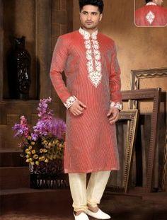 Stylish Sheded Rust Art Silk Wedding Wear Kurta Pajama