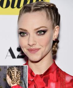 Amanda Seyfried's braided updo and bold lashes.