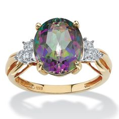 PalmBeach 18k Yellow Gold over Sterling Silver 6ct Oval-cut Fire Topaz Ring
