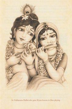 Radha plays flute