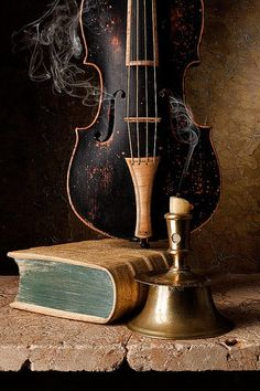 Book, Violin and Candle