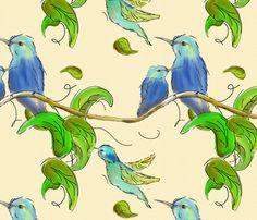 hummingbirds7 fabric by annesalome on Spoonflower - custom fabric