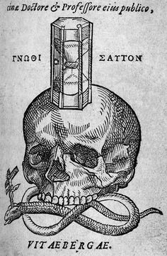 Woodcut Of Skull, Snake And Hourglass, 16th c.