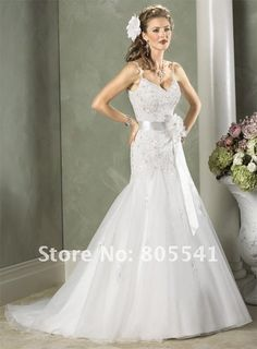 Lace Beading Organza Wedding Gown with Belt