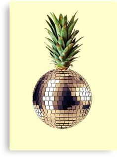 Ananas party (pineapple) Canvas Print Disco Ball, Pineapple, Food Art, Art Prints, Fruit, Party, Poster, Design, Authenticity