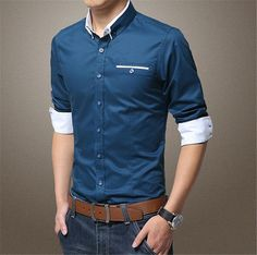 2016 Slim Fit Patchwork Long Sleeve Men's Casual Shirts