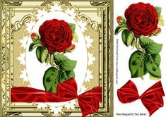 Pretty red roses in ornate frame 8x8 on Craftsuprint - Add To Basket!