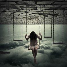 balanco, clouds, girl, perception, swing