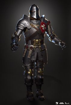 ArtStation - Foot Knight, Pavel Protasov Fantasy Armor, Medieval Fantasy, Empire Characters, Knight Armor, Game Workshop, Warhammer Fantasy, Pen And Paper, Armour, Knights