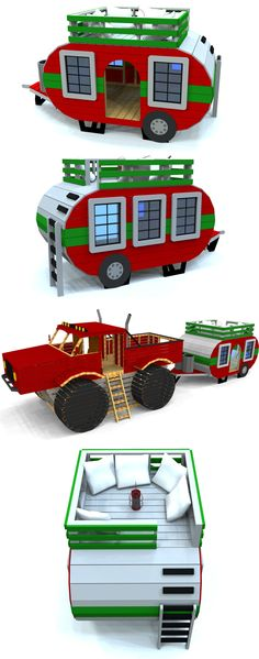 A classic trailer shaped playhouse any kid will enjoy. It can be downloaded at paulsplayhouses.com The truck is another plan that can also be downloaded as well.