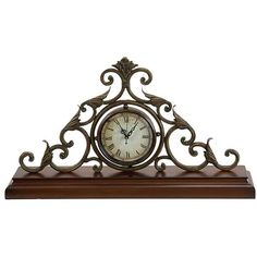 Casa Cortes Milano Classic Mantle Accent Clock (Brown) (Iron)