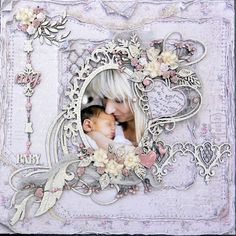 Hello, Rachelle here, with a LO I did, using the Beautiful Vintage Baby Collection… I used:Expecting, Flowers for Mom, Cherish-BS, & Baby Shower-BS The Chipboard used is from Dusty Attic …
