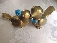 Metallic gold and Tiffany blue Wedding cake topper birds