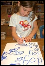 "Writing the word ""dog"" requires the correct ""o"" formation. We systematically weave handwriting practice into ""heart word"" work, drawing, and writing workshop. From ""Kindergarten Writing and the Common Core by Nellie Edge,"" Chapter 4."