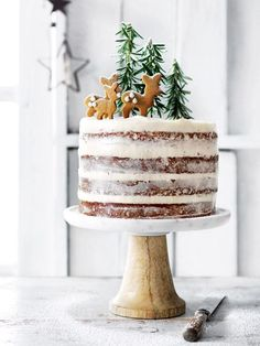 Hazelnut and brandy forest cake with cream cheese icing Want to bring a fun, festive treat to Christmas this year? Try Donna Hay's hazelnut and brandy forest cake with cream cheese icing recipe. Xmas Food, Christmas Sweets, Christmas Cooking, Noel Christmas, Christmas Cakes, Magical Christmas, Holiday Cakes, Christmas Birthday Cake, Christmas Goodies