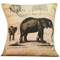 Vintage elephant pillow baby elephant home decor so cute Hey, I found this really awesome Etsy listing at https://www.etsy.com/listing/123921223/ships-today-vintage-french-pillow