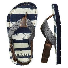 Gap Braided Ankle Strap Flip Flops ❤ liked on Polyvore
