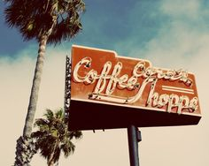 Vintage Roadside Cafe Coffee Shop Sign  Red White California