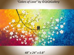 """Colors of Love by QIQIGallery 48"""" x 24"""" Original Modern Abstract Landscape Wall Painting Office Wall Décor Birds Painting Wall Décor Wall Hangings Office Wall Art for Sale by Artist"""