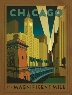 Anderson Design Group Premium Thick-Wrap Canvas Wall Art Print entitled Chicago, Illinois: The Magnificent Mile - Retro Travel Poster Chicago Poster, Chicago Art, Chicago Illinois, Chicago Travel, Chicago Skyline, Chicago Shopping, Chicago Photos, Chicago Magnificent Mile, Retro Poster