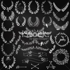 Vector Collection of Chalkboard Christmas Holiday Themed Laurels and Wreaths Royalty Free Stock Vector Art Illustration