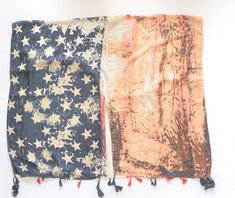 Vintage Look Americana Flag Kimono Wrap with Armholes Beach Cover Up Tassel