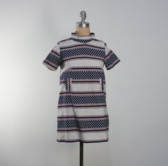 vintage 60s mod stripe and polka dot mini dress  // #vintage #60s #mod #stripe #polkadot #dots #mini #dress #madmen #etsy