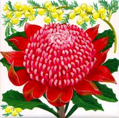 waratah - Google Search Church Banners Designs, Australian Flowers, Banner Design, Garden, Plants, Painting, Google Search, Sweet, Art