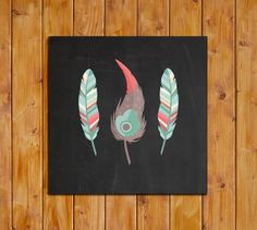 Feather Printable Chalkboard Instant Download Mint by dodidoodles, $5.00