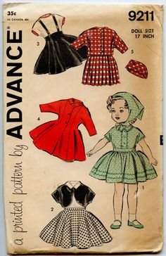 1950s Doll Clothes Pattern Advance 9211 Doll by GreyDogVintage, $24.00