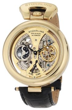 Stuhrling Original Men's 127A.333531 Emperor's Grandeur Automatic Skeleton Goldtone Dial Watch -- Stuhrling Original's Special Reserve collection was created to honor the timepieces we've produced that deserve extra attention. Some of our finest and most well known watches can be found here, and this is especially true when you're talking about the Old World Treasure Series. We've included horologic wonders here that shock and amaze from the mome...