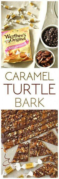 Gooey Caramel Turtle Bark Recipe - just 4 ingredients in this easy dessert treat! Caramel Recipes, Candy Recipes, Sweet Recipes, Holiday Recipes, Cookie Recipes, Smores Dessert, Easy Desserts, Delicious Desserts, Yummy Food