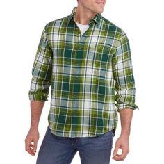 Faded Glory Big Men's Flannel Shirt, Size: 2XL, Green
