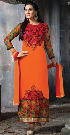 USD 35.16 Orange Faux Georgette Long Churidar Suit 42659