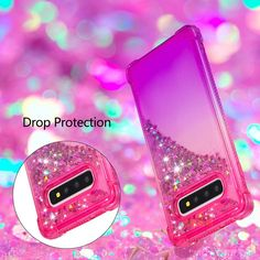 Girls Phone Cases Covers Gradient Color Liquid Aqua Quicksand Glitter Bling Tough Shockproof Silicone TPU Galaxy S10, Galaxy S10 Plus, Galaxy S10e | | Casefanatic