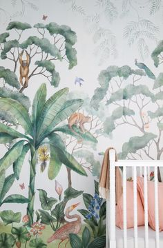 Jungle Mural Wallpaper by Lulu and Georgia! Shop the look with L&G! Tropical Home Decor, Tropical Houses, Tropical Interior, Tropical Colors, Tropical Furniture, Tropical Nursery Decor, Coastal Nursery, Pink Furniture, Tropical Pattern