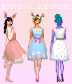 Sims 4 CC's - The Best: Easter Alice Dress by Deetron