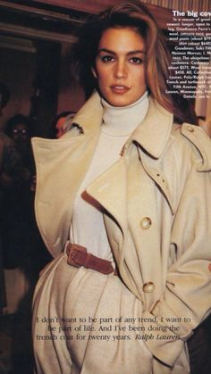 Cindy Crawford in Ralph Lauren, 1991 80s And 90s Fashion, Retro Fashion, Trendy Fashion, Vintage Fashion, Fashion Trends, Fashion Tips, Cheap Fashion, Fashion Women, Look Vintage