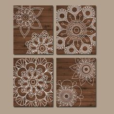 Wood Wall Art Bedroom Pictures CANVAS or Prints Bathroom Artwork Bedroom Pictures Doilies Mandala Wall Art Medallion Set of 4 Home - Mandala wall art, Bathroom artwork, Bedroom wall art, Wall decor b - Doily Art, Lace Art, Mandala Art, Art Diy, Diy Wall Art, Wood Wall Art, Wood Walls, Wood Home Decor, Home Decor Wall Art