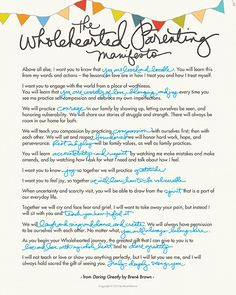 The Wholehearted Parenting Manifesto - Brené Brown