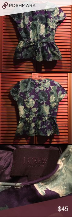 "💐Spring Break Sale🎉J.Crew collection peplum top This is from their rare high fashion line collection. Such a beautiful green, purple color combo. The style is slim and flirty. Ruffle peplum just nailed it. Lined of corse. I bought it and forgot about, just found it. NWOT 18"" pit to pit , 22"" length J. Crew Tops"