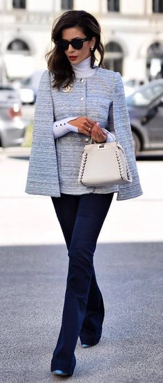 Photo Best office style / jacket + bag + jeans + heels from 35 Perfect Fall Outfit Ideas To Copy Right Now Office Fashion, Work Fashion, Fashion Looks, Style Fashion, Fashion Check, Mode Outfits, Fashion Outfits, Womens Fashion, Fashion Trends