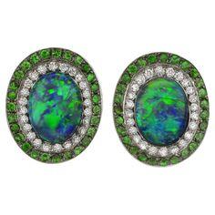 Black Opal Cabochon Tsavorite Garnet Pave Diamond Gold Earrings by Katherine Jetter #opalsaustralia