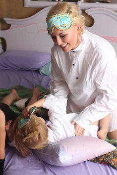 Sleepover party in Audrey Hepburn sleepwear Breakfast At Tiffany's Costume, Audrey Hepburn Outfit, Holly Golightly, Toddler Sleep, Girl Sleeping, Sleepover Party, Breakfast At Tiffanys, Sleep Set, Sleep Mask