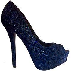 Women s Sparkly Navy Blue Glitter Peep Toe Heels Pumps shoes wedding bride. Glitter  Shoe Co 237b04a1543d